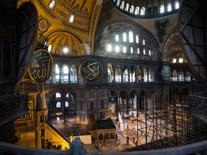 ISTANBUL, TURKEY - FEBRUARY 11: The interior of the Hagia Sophia Museum is seen on February 11, 2016 in Istanbul, Turkey. The Hagia Sophia (Ayasofya) Museum is one of the most visited tourist attractions in Turkey, with more than 3 million visitors per year. Constructed in 537 the museum originally …