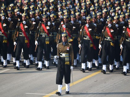 Indian Army captain Tania Shergill (C) leads an all-male contingent as they march along Rajpath during the Republic Day parade in New Delhi on January 26, 20 (Photo by Money SHARMA / AFP) (Photo by MONEY SHARMA/AFP via Getty Images)