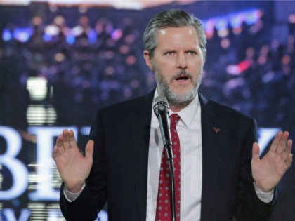 Liberty University President Jerry Falwell, Jr. introduces Republican presidential candidate Donald Trump with a sports jersey after he delivered the convocation in the Vines Center at the university January 18, 2016 in Lynchburg, Virginia. Although Falwell said the university does not endorse a particular candidate, he left no question as …