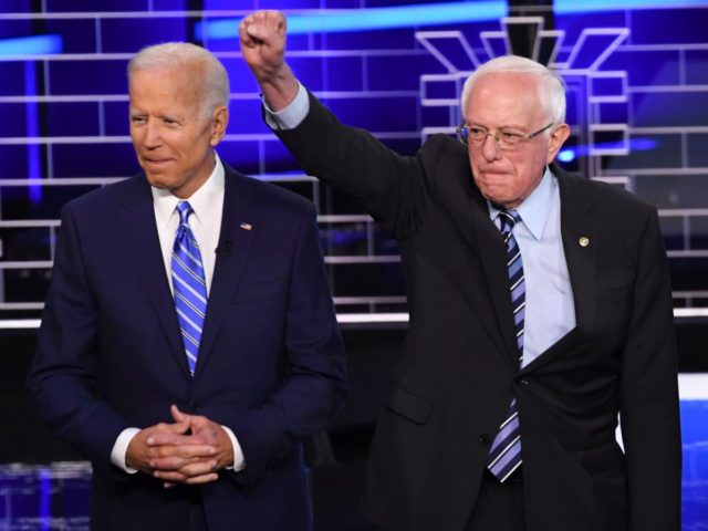 Joe Biden and Bernie Sanders (Saul Loeb / AFP / Getty)