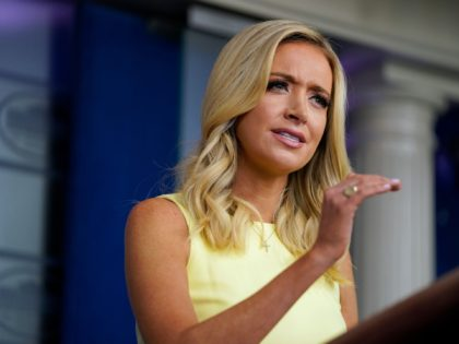White House press secretary Kayleigh McEnany speaks during a press briefing at the White House, Thursday, July 16, 2020, in Washington. (AP Photo/Evan Vucci)