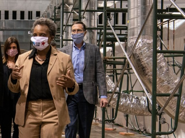 CHICAGO, ILLINOIS - APRIL 17: Chicago Mayor Lori Lightfoot tours the COVID-19 alternate care facility constructed at the McCormick Place convention center in Chicago, Illinois on April 17, 2020 in Chicago, Illinois. The facility, which began seeing patients Thursday, will serve as a primary care facility for patients with mild …