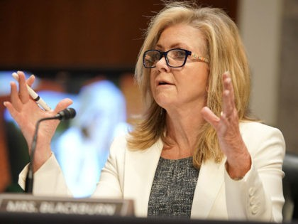 "WASHINGTON, DC - JUNE 03: Sen. Marsha Blackburn (R-Tenn.) questions Former Deputy Attorney General Rod Rosenstein during a Senate Judiciary Committee hearing to discuss the FBI's ""Crossfire Hurricane"" investigation in the Dirksen Senate Office Building June 3, 2020 in Washington DC. The Republican-led panel is exploring issues raised with warrants …"
