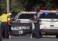 McAllen Police Crime Scene Investigations seals off scene where to police officers were killed in the line of duty. (Delcia Lopez/The Monitor via AP)