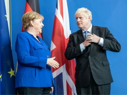 BERLIN, GERMANY - AUGUST 21: British Prime Minister Boris Johnson and German Chancellor Angela Merkel talk following a joint press conference at the Chancellery on August 21, 2019 in Berlin, Germany. Johnson is meeting with Merkel in Berlin and French President Emmanuel Macron in Paris. The United Kingdom has an …