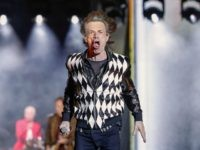"Mick Jagger of the Rolling Stones performs as they resume their ""No Filter Tour"" North American Tour at the Soldier Field on June 21, 2019 in Chicago. (Photo by Kamil Krzaczynski / AFP) (Photo credit should read KAMIL KRZACZYNSKI/AFP via Getty Images)"
