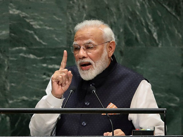 NEW YORK, NY - SEPTEMBER 27: Prime Minister of India Narendra Modi addresses the United Nations General Assembly at UN headquarters on September 27, 2019 in New York City. World leaders from across the globe are gathered at the 74th session of the UN General Assembly, amid crises ranging from …