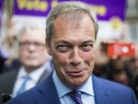 LONDON, ENGLAND - MAY 20: Leader of the United Kingdom Independence Party (UKIP) Nigel Farage speaks to media outside Europe House in Westminster on May 20, 2016 in London, England. The party today unveiled a tour bus as part of their campaign to leave the European Union ahead of the …