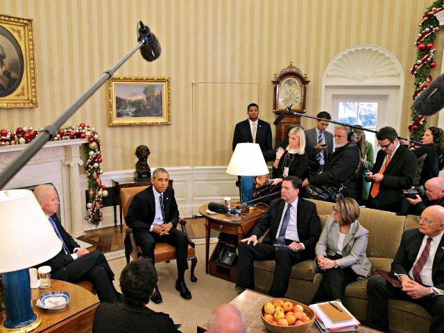 WASHINGTON, DC - DECEMBER 03: U.S. President Barack Obama (C) delivers a statement to the news media after receiving a briefing from his national security team, including (L-R) Vice President Joe Biden, FBI Director James Comey, Homeland Security Advisor Lisa Monaco, Director of National Intelligence James Clapper and others, in …