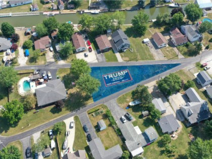 J.R. Majewski of Port Clinton, Ohio, painted his large, oddly shaped yard in support of President Donald Trump's reelection.
