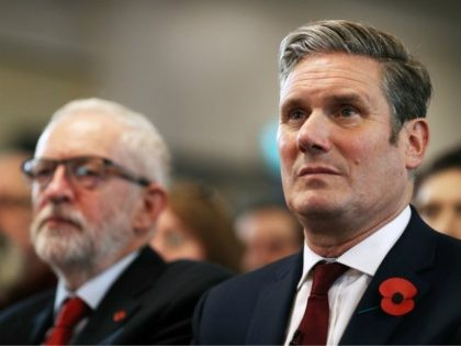 HARLOW, ENGLAND - NOVEMBER 05: Labour leader, Jeremy Corbyn (L) and Keir Starmer, Shadow Secretary of State for Exiting the EU look on prior to delivering a Brexit speech at the Harlow Hotel on November 5, 2019 in Harlow, England. (Photo by Dan Kitwood/Getty Images)