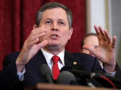 WASHINGTON, DC - JANUARY 16: Sen. Steve Daines (R-MT) speaks during a news conference about proposed reforms to the Foreign Intelligence Surveillance Act in the Russell Senate Office Building on Capitol Hill January 16, 2018 in Washington, DC. Daines is part of a bipartisan group of senators that supports legislation …