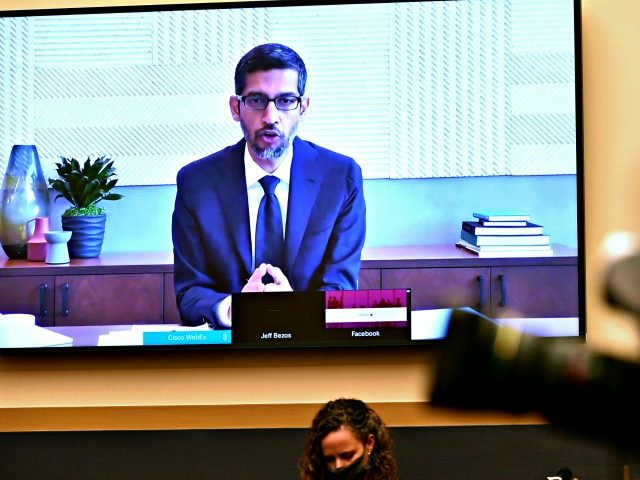 Google CEO Sundar Pichai testifies remotely during a House Judiciary subcommittee hearing on antitrust on Capitol Hill on Wednesday, July 29, 2020, in Washington. (Mandel Ngan/Pool via AP)