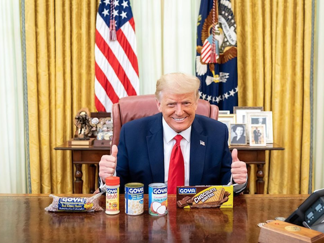 President Donald Trump demonstrated his support for Goya foods in the Oval Office on Wednesdday.