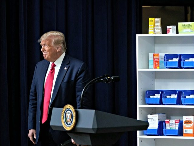 WASHINGTON, DC - JULY 24: U.S. President Donald Trump arrives at a ceremony to sign executive orders on prescription drug prices in the South Court Auditorium at the White House on July 24, 2020 in Washington, DC. President Trump signed a series of four executive orders aimed at lowering prices …