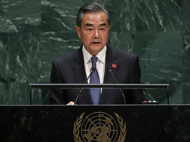 NEW YORK, NY - SEPTEMBER 27: Foreign Minister of China Wang Yi addresses the United Nations General Assembly at UN headquarters on September 27, 2019 in New York City. World leaders from across the globe are gathered at the 74th session of the UN General Assembly, amid crises ranging from …