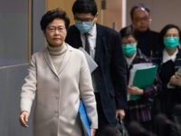 HONG KONG, CHINA - FEBRUARY 03: Hong Kong chief executive Carrie Lam arrives at a press conference at the Central Government Complex on February 3, 2020 in Hong Kong, China. Government announced they will shutdown all but two of the border crossing stations with mainland China. Hong Kong has 15 …