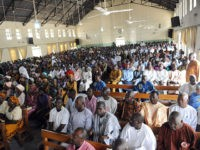 To go with AFP STORY: Fear pervades Nigerian city at heart of Islamist insurgency by M.J. Smith Worshippers sit in Church of the Brethren in Nigeria in Maiduguri, northeastern Nigeria on May 13, 2012. Fear pervades the northeastern Nigerian city of Maiduguri, the heart of an Islamist insurgency that has …