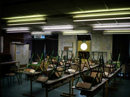 An empty classroom is pictured at the Saint-Exupery school in the Paris' suburb of La Courneuve on May 14, 2020 as primary schools in France re-open this week after an almost two-month closure due to the lockdown imposed since March 17 to curb the spread of the COVID-19 disease caused …