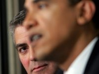 WASHINGTON - APRIL 27: Actor George Clooney (L) listens as Sen. Barack Obama (R) speaks at The National Press Club Newsmaker's Program April 27, 2006 in Washington, DC. Clooney joined Sen. Sam Brownback and Sen. Obama in discussing the current situation in the Darfur region of Sudan and also held …