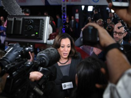 Democratic presidential hopeful US Senator from California Kamala Harris speaks to reporters in the spin room after the second round of the second Democratic primary debate of the 2020 presidential campaign season hosted by CNN at the Fox Theatre in Detroit, Michigan on July 31, 2019. (Photo by Jim WATSON …