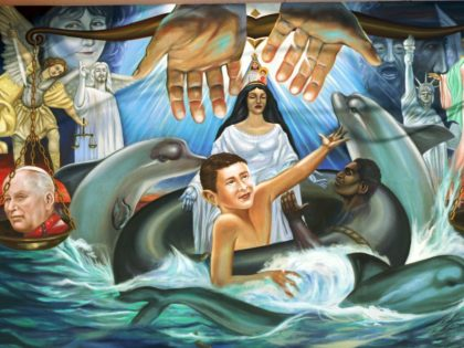 N367120 08: A mural of Elian Gonzalez was carried by supporters to the home of his Miami, Florida relatives Monday evening, and now hangs on a wall of a home next to the relatives of Elian, in Miami April 5, 2000. Attorneys for the Miami family and the U. S. …