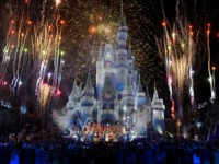 LAKE BUENA VISTA, FL - NOVEMBER 05: In this handout photo provided by Disney Parks, a view of fireworks, holiday lights and fanfare at Cinderella's Castle during a taping of Disney Parks Presents a Disney Channel Holiday Celebration at Walt Disney World Resort on November 05, 2017 in Lake Buena …