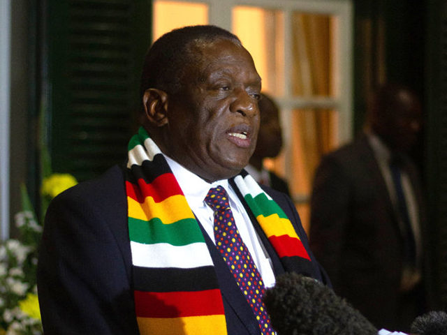 HARARE, ZIMBABWE - SEPTEMBER 06. Zimbabwe's president Emmerson Mnangagwa holds a press conference at State House:on September 6, 2019 in Harare, Zimbabwe. The current President of Zimbabwe, Emmerson Managagwa, cut short his visit to the World Economic Forum in Cape Town, South Africa on hearing of the death of former …