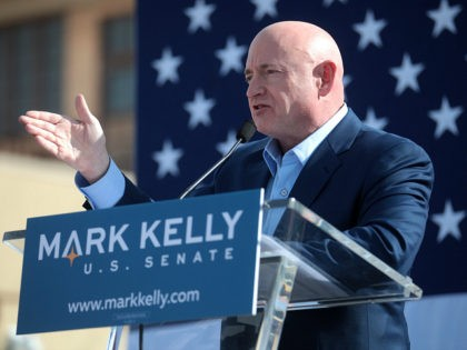 Mark Kelly speaking with supporters at the Phoenix launch of his U.S. Senate campaign at The Van Buren in Phoenix, Arizona.