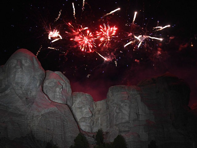 Fireworks explode above the Mount Rushmore National Monument during an Independence Day event attended by the US president in Keystone, South Dakota, July 3, 2020. (Photo by SAUL LOEB / AFP) (Photo by SAUL LOEB/AFP via Getty Images)