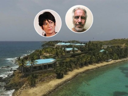 (INSETS: Ghislaine Maxwell, Jefrrey Epstein)This Tuesday, July 9, 2019 video frame grab shows an aerial view of Little Saint James Island, in the U. S. Virgin Islands, a property purchased by Jeffery Epstein more than two decades ago. Epstein built on the island a stone mansion with cream-colored walls and …