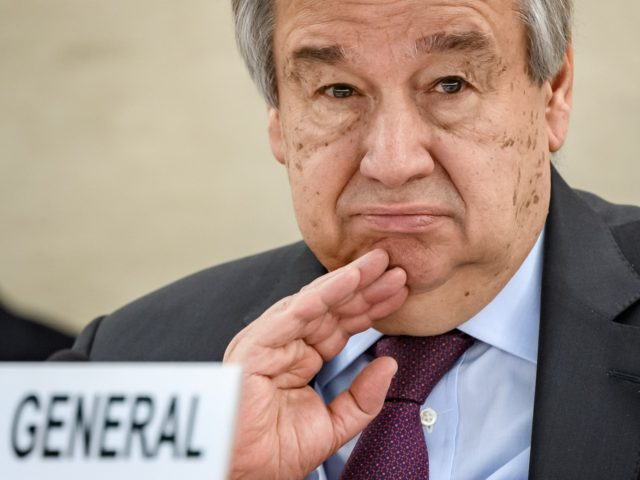 "UN Secretary-General Antonio Guterres looks on at the opening of the UN Human Rights Council's main annual session on February 24, 2020 in Geneva. - The UN's secretary general launched a ""call to action"" on Monday against rising attacks on human rights worldwide, highlighting the persecution of minorities and ""alarming …"