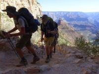 FILE - In this July 27, 2015, file photo, a long line of hikers head out of the Grand Canyon along the Bright Angel Trail at Grand Canyon National Park, Ariz. Authorities have seen a big increase in search and rescue missions in northern Arizona, driven by a surge in …