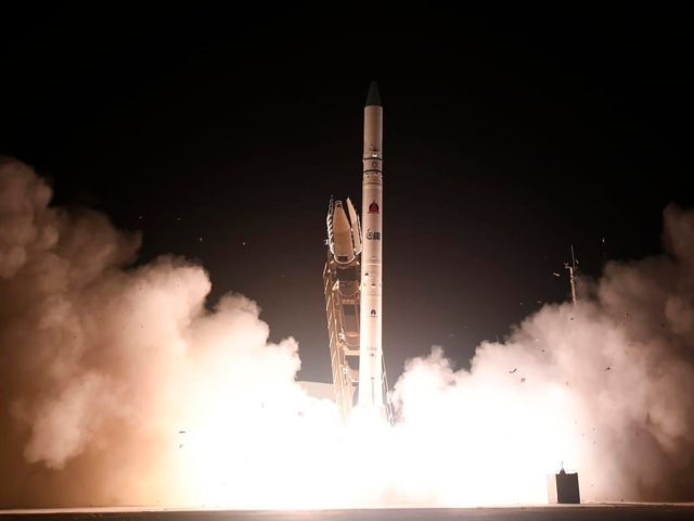 "In this photo released by Israel Ministry of Defense Spokesperson's Office, the ""Ofek 16"" reconnaissance satellite blasts off at the Palmachim air base in central Israel Monday, July 6, 2020. The new satellite, which quickly entered orbit, joins a collection of spy satellites that Israel has deployed in recent years. …"