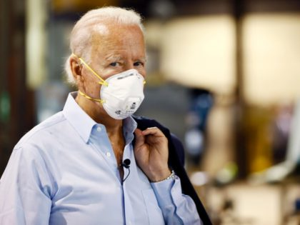 Democratic presidential candidate, former Vice President Joe Biden tours McGregor Industries, a metal fabricating facility, Thursday, July 9, 2020, in Dunmore, Pa. (AP Photo/Matt Slocum)