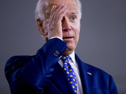 "Democratic presidential candidate former Vice President Joe Biden gestures while referencing President Donald Trump at a campaign event at the William ""Hicks"" Anderson Community Center in Wilmington, Del., Tuesday, July 28, 2020.(AP Photo/Andrew Harnik)"