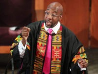 Rev. Raphael G. Warnock delivers the eulogy for Rayshard Brooks' funeral at Ebenezer Baptist Church, Tuesday, June 23, 2020, in Atlanta. Brooks is to be remembered at the Atlanta church where the Rev. Martin Luther King Jr. once preached. Brooks, 27, was shot twice in the back June 12 by …