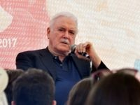 "British comedian, director and screenplay writer, John Cleese ansmwers questions from the audience and young filmmakers during the 23rd Sarajevo Film Festival, on August 17, 2017. Cleese arrived in Sarajevo where he was awarded a ""Heart Of Sarajevo"" for his life long contribution to the art of film. / AFP …"