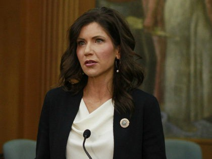 South Dakota Gov. Kristi Noem announces on Monday, June 22, 2020, that city and county governments will be able to access federal coronavirus relief funds as she speaks at the Sioux Falls city hall in Sioux Falls, S.D. (AP Photo/Stephen Groves)