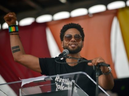 WEST HOLLYWOOD, CA - JUNE 11: Jussie Smollett speaks during the LA Pride ResistMarch on June 11, 2017 in West Hollywood, California. (Photo by Chelsea Guglielmino/Getty Images)