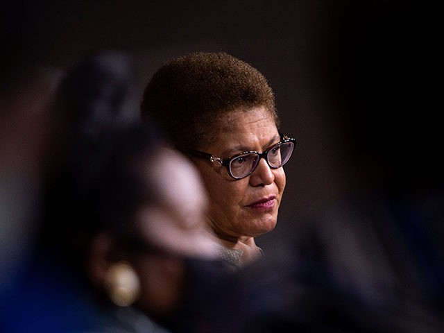 CBC Chair Rep. Karen Bass (D-CA) listens during a press conference with members of the Congressional Black Caucus on Capitol Hill about legislation to address systemic racists on July 1, 2020, in Washington, DC. (Photo by Brendan Smialowski / AFP) (Photo by BRENDAN SMIALOWSKI/AFP via Getty Images)