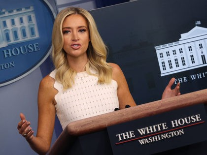 WASHINGTON, DC - JULY 09: White House press secretary Kayleigh McEnany speaks during a press briefing at the White House on July 9, 2020 in Washington, DC. McEnany answered a range of questions during the briefing including today's Supreme Court decision regarding President Trump's tax returns, bank documents and book …