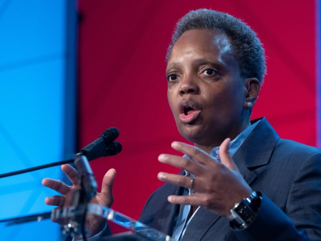 Chicago Mayor Lori Lightfoot​, speaks at the ​U.S. Conference of Mayors' Winter Meeting, Thursday, Jan. 23, 2020, in Washington. (AP Photo/Cliff Owen)