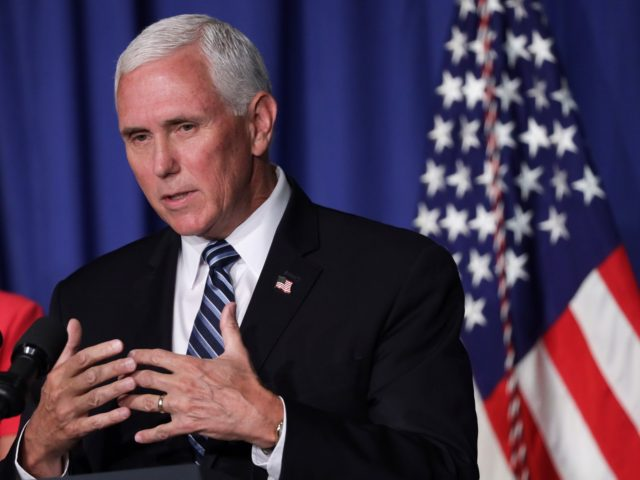 WASHINGTON, DC - JULY 08: U.S. Vice President Mike Pence speaks during a White House Coronavirus Task Force press briefing at the U.S. Department of Education July 8, 2020 in Washington, DC. Vice President Pence and the task force members discussed the latest on the COVID-19 pandemic and the reopening …