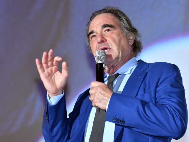 "US director and writer, Oliver Stone gives a speech during the award ceremony of 23rd Sarajevo Film Festival, late on August 13, 2017. Stone received a ""Heart Of Sarajevo"" award for his life long contribution to the art of film. / AFP PHOTO / ELVIS BARUKCIC (Photo credit should read …"