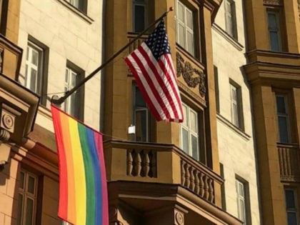 """Russian President Vladimir Putin has mocked the decision by U.S. officials to fly a rainbow pride flag over the embassy in Moscow, saying it """"tells you something about the people who work there."""""""