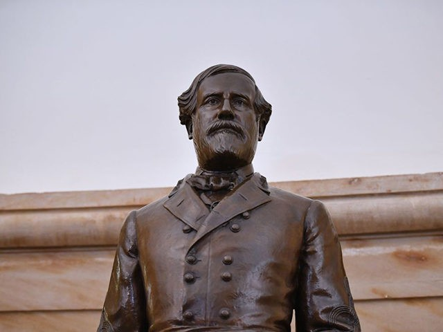 A statue of Robert E. Lee, commander of the Confederate States Army, is seen in the Crypt of the US Capitol in Washington, DC on June 11, 2020. - US House Speaker Nancy Pelosi called June 10, 2020 for the US Capitol's removal of 11 statues of Confederate soldiers or …