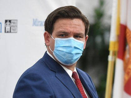 MIAMI, FL - JULY 13: Florida Gov. Ron DeSantis speaks during a press conference on the surge of coronavirus Covid-19 cases in Florida held at the Jackson Memorial Hospital during the COVID-19 pandemic on July 13, 2020 in Miami, Florida. Credit: mpi04/MediaPunch /IPX