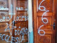 Church profaned with satanic symbols in southern Poland.