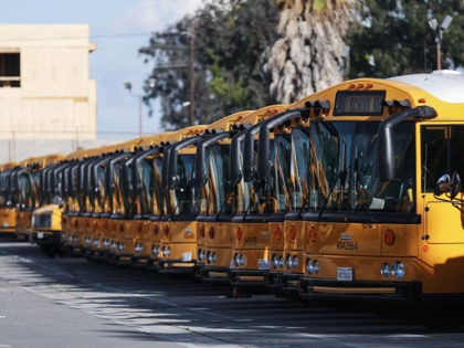 GARDENA, CALIFORNIA - MARCH 17: School buses are parked in a lot, idled by the closing of schools in response to the novel coronavirus outbreak, on March 17, 2020 in Gardena, California. COVID-19 has claimed 13 lives in California so far with at least 470 people in the state testing …